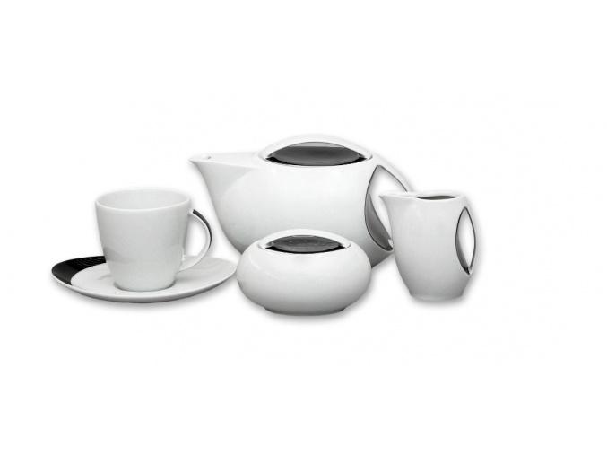 Loos, čajová souprava, český porcelán, Uno, Thun, 15 d.