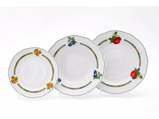 Mary-Anne, talířová sada, český porcelán, bílá, ovoce, Leander, 18 ks