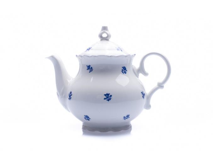 Čajová konvice, 1,2 l, Ophelia, modrá házenka, porcelán Thun R. Z.