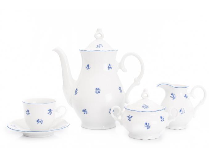 Kávová souprava Ophelia, český porcelán, modré házenky, Thun RZ, 15 d.