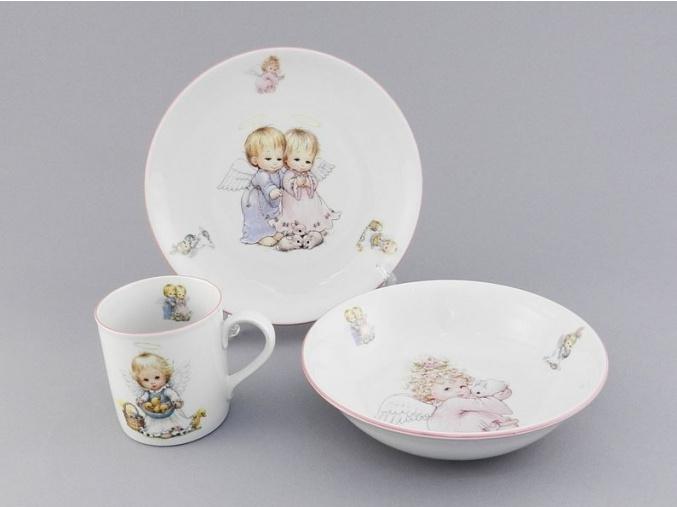 Dětská souprava, český porcelán, andílci II., Leander, 3 ks