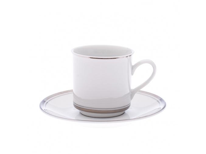 Sabina, sada kávových šálků s podšálky, 150 ml, platina, Leander, 6 ks