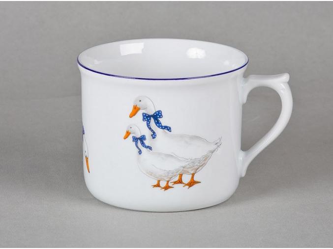Hrnek vařák, český porcelán, 0,7 l, husy, Leander