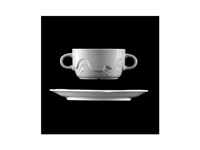 Šálek s podšálkem na polévku 320 ml, bílý porcelán, Melodie, G. Benedikt