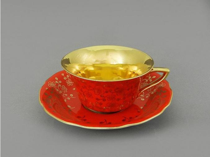 Windsor, šálek s podšálkem - červený, drobné kvítky