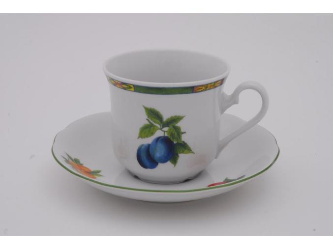 Mary-Anne, čajový šálek s podšálkem, ovoce, bílý