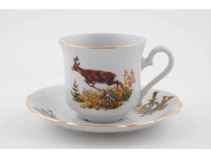 Mary-Anne, čajový šálek s podšálkem, myslivec, zlatý proužek