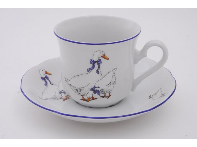 Šálek s podšálkem, český porcelán, 200 ml, husy, Leander
