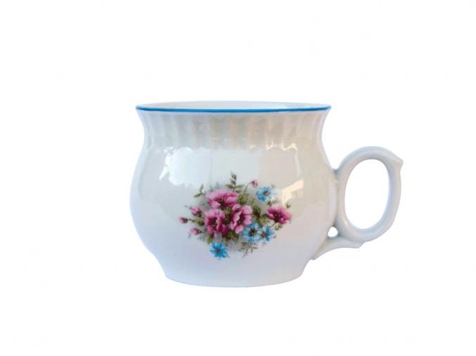hrnek darume jemne kviti cesky porcelan