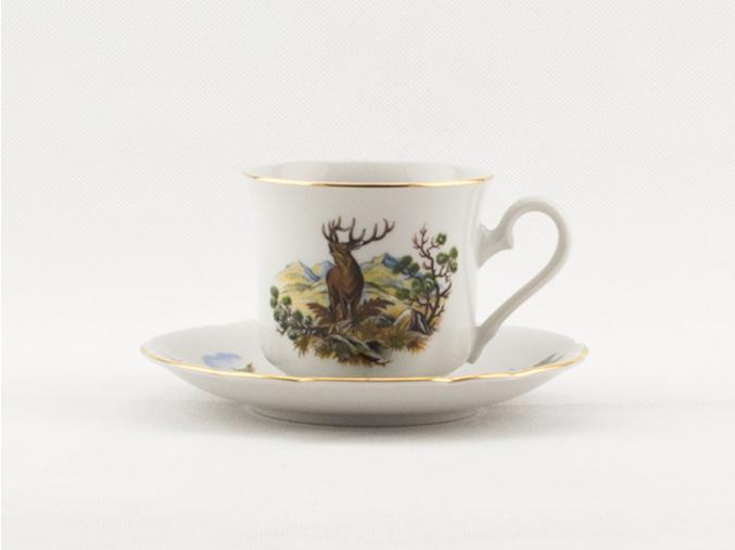 Mary-Anne, kávový šálek s podšálkem, myslivec, zlatý proužek