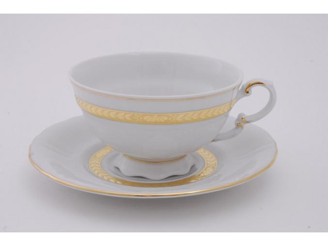 Sonáta, čajový šálek s podšálkem, zlatý cop, 200 ml, Leander