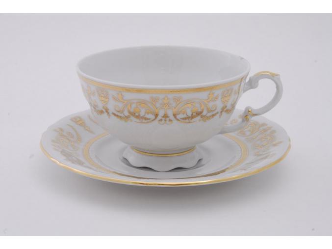 Sonáta, čajový šálek s podšálkem, zlaté ornamenty