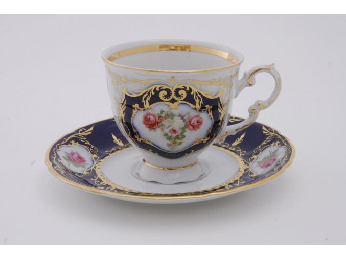 Sonáta, kávový šálek s podšálkem, kobalt, růže
