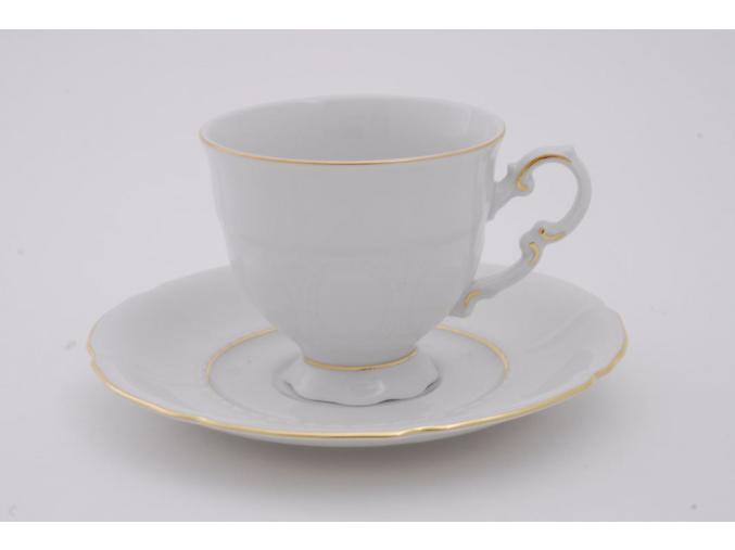 Sonáta, kávový šálek s podšálkem, zlatá linka