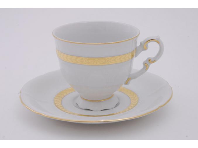 Sonáta, kávový šálek s podšálkem, zlatý cop