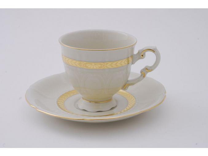 Sonáta, kávový šálek s podšálkem, zlatý cop, slon. kost