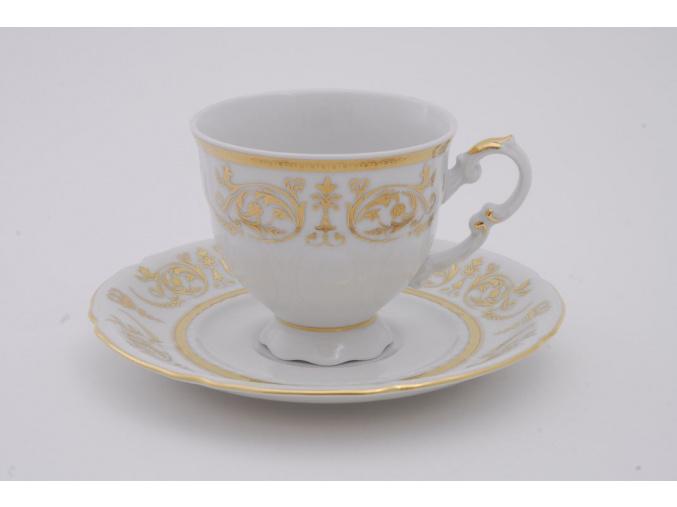 Sonáta, kávový šálek s podšálkem, zlaté ornamenty, 150 ml, Leander