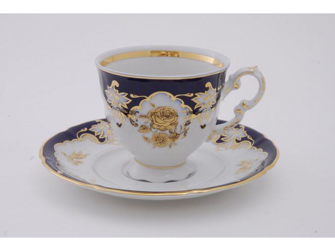 Sonáta, kávový šálek s podšálkem, kobalt, zlatá růže
