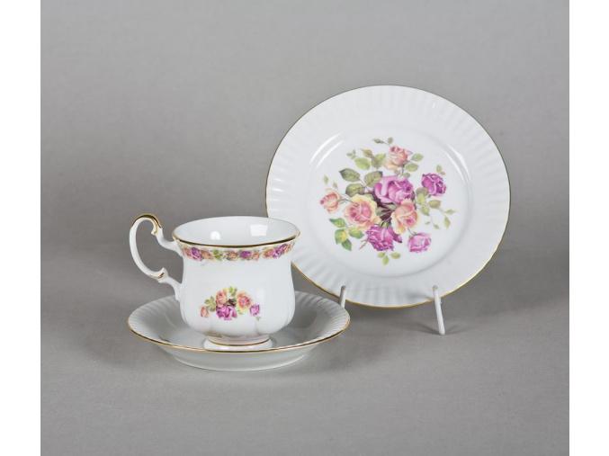 Porcelánová souprava na snídani s růžemi, Leander, 3 d.