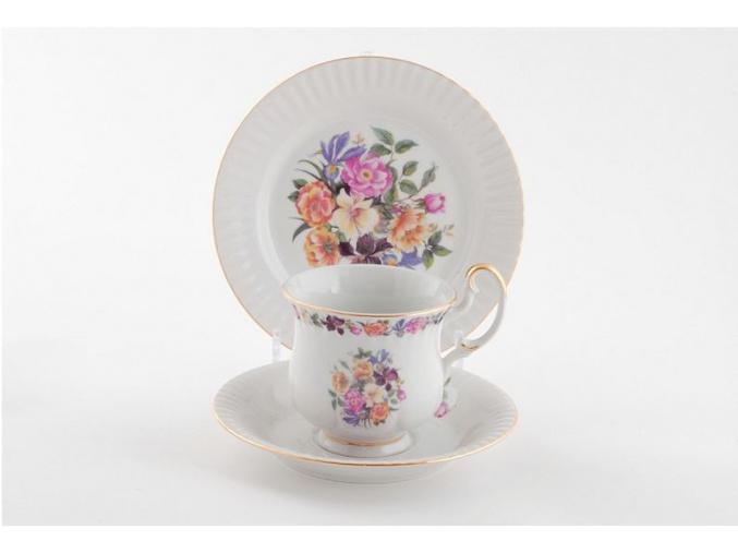 Porcelánová souprava na snídani, kytice, Leander, 3 d.