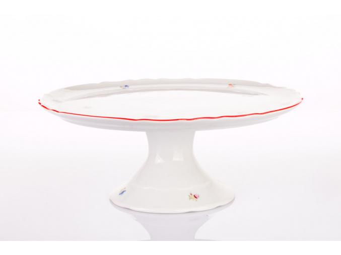 talir na dort na noze hazenka s cervenym prouzkem porcelanovy svet