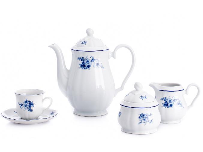 Rose, kávová souprava, český porcelán, modré růže, Thun, 15 d.