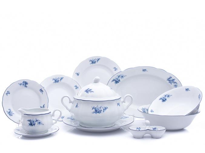 Rose, jídelní souprava, modré růže, 25 d., Thun