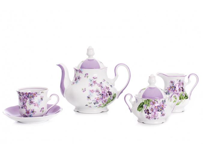 Mary-Anne, čajová souprava 15-dílná, fialky