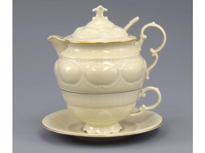 Salek a konvicka na caj slonova kost zlata linka Leander porcelanovy svet