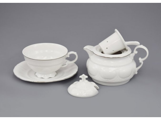 Salek a konvicka na caj bily platinova linka Leander porcelanovy svet