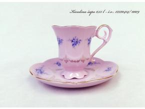Karolína, kávový šálek s podšálkem, růžový porcelán
