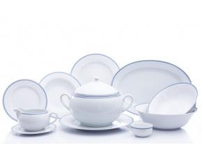Opal, jídelní souprava, bílá krajka, modrý lem, Thun, 25 d.