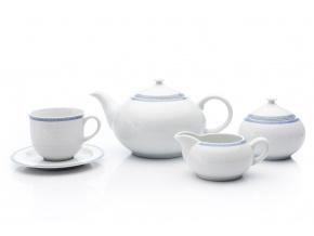 Opal, čajová souprava, porcelán, bílá krajka, modrý lem, Thun, 15 d.