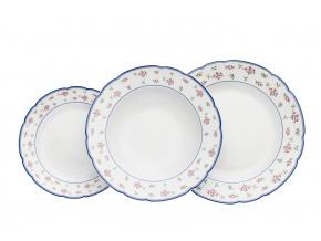 Rose, talířová souprava, růžičky, modré lemování