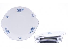 Rose, koláčová souprava, český porcelán, modré růže, Thun, 7 d.