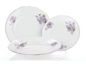 Souprava talířů, český porcelán, 24 cm, fialky, Český porcelán