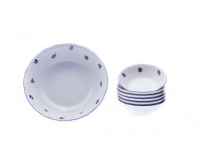 Kompotová souprava, karlovarský porcelán, Stará Role, házenka, modrá