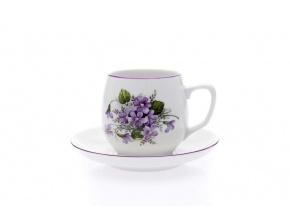 šálek s podšálkem baňák fialky český porcelán dubí porcelanovy svet