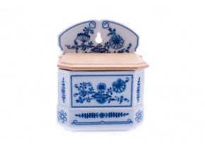 Dóza závěsná s nápisem, cibulák, český porcelán, Leander