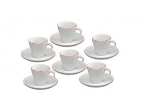 Tom, šálky a podšálky čajové, červená linka, Thun, 6 ks