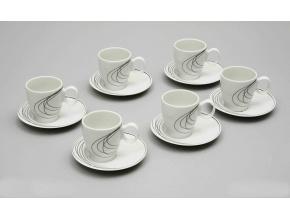 Future, šálky a podšálky kávové, čáry, Thun, 6 ks