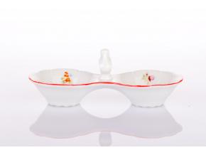 Slánka dvoudílná, Ophelia, házenka s červeným proužkem, porcelán Thun RZ