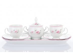 přátelská souprava bernadotte růžičky s růžovou linkou porcelánový svět