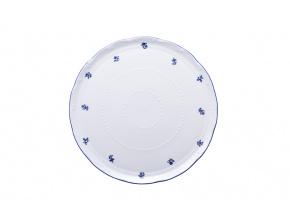 Talíř na dort 30 cm, Ophelia modrá házenka, porcelán Thun Rulak Zettlitz