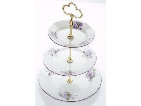 Etažérka trojdílná, český porcelán, 0,3 l, fialky, Český porcelán