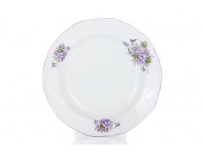 Talíř hluboký, český porcelán, 24 cm, fialky, Český porcelán