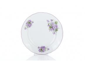 Talíř dezertní, český porcelán, 19 cm, fialky, Český porcelán