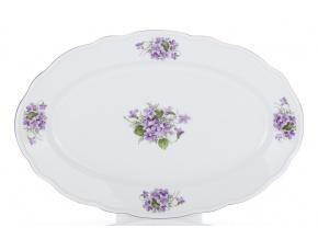 Mísa ovalná, český porcelán, 35 cm, fialky, Český porcelán