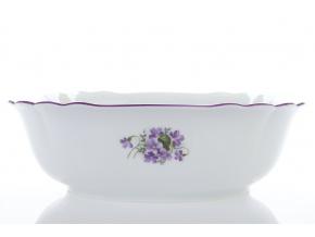 Mísa salátová čtyřhranná, český porcelán, 26 cm, fialky, Český porcelán