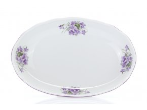 Mísa salátová oválná, český porcelán, 23 cm, fialky, Český porcelán